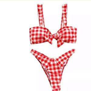 Other - Red white thong scrunch butt plaid retro Dollbaby
